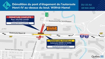 Élargissement de l'autoroute Henri-IV - Travaux de démolition des ponts d'étagement à compter du 15 mai (Groupe CNW/Ministère des Transports)