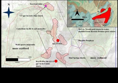 Gold bearing Nina Skarn at Keystone: adjacent to multi-phase Late Eocene intrusives (PRNewsfoto/U.S. Gold Corp.)