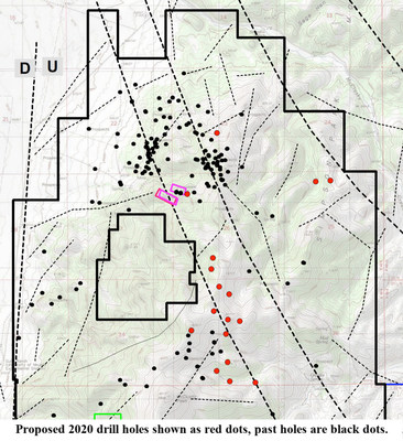 Proposed 2020 drill holes shown as red dots, past holes are black dots (PRNewsfoto/U.S. Gold Corp.)