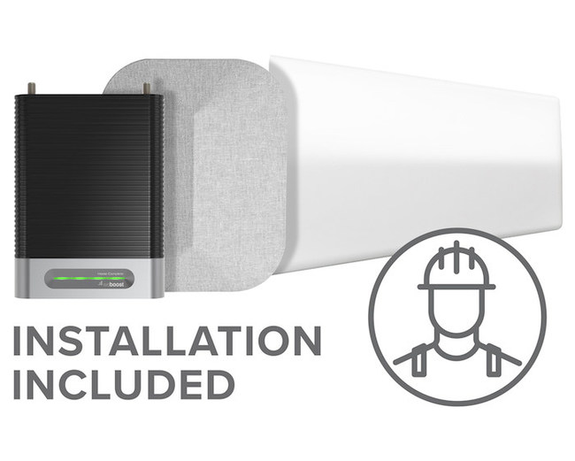 Cell phone signal booster purchase includes installation service inside residential properties across 50 states.