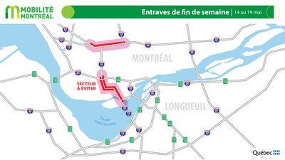Carte générale des entraves, du 14 au 19 mai (Groupe CNW/Ministère des Transports)