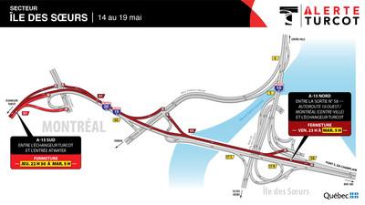 A15 entre Turcot et île des Sœurs, du 14 au 19 mai (Groupe CNW/Ministère des Transports)