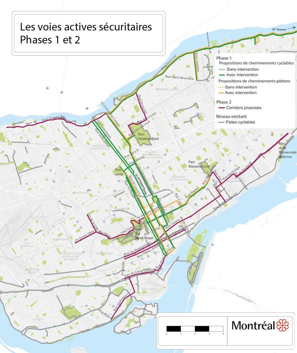 Les voies actives sécuritaires - Phases 1 et 2 (Groupe CNW/Ville de Montréal - Cabinet de la mairesse et du comité exécutif)