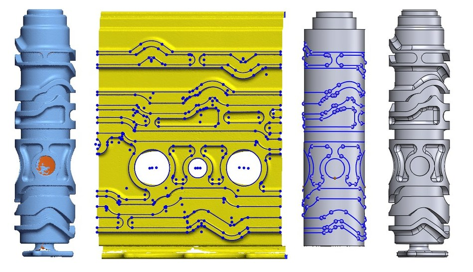 Modeling of a complex part with cylindrical drum slots in Geomagic Design X