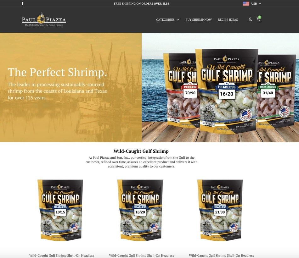 Paul Piazza & Son Seafood, a vertically integrated supplier of wild-caught, Gulf shrimp in New Orleans has launched an online store at https://shop.paulpiazza.com/