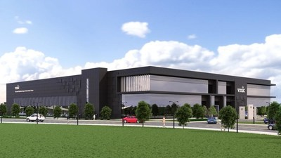 A CGI of the new Vaccines Manufacturing and Innovation Facility being built at Harwell Science and Innovation Campus – due to open 2021