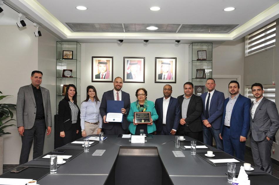 From left to right:  •Dr. Ali Al-Attar, PhD, MBA : Associate Professor of Accounting  •Mrs. Lama Obeidat, MSc, CMA, CPA : Instructor of Accounting  •Mrs. Balkis Set-Abouha, MSc : Instructor of Accounting and Finance •Dr. Malek Alsharairi, PhD, FHEA : Dean of School of Management and Logistic Sciences, Associate Professor of Accounting and IMA Campus Advocate •Prof. Manar Fayyad : President of University  •Dr. Bassam Maali, PhD, MBA : Associate Professor of Accounting •Dr. Ahmad Abu Dawleh, PhD : Head of International Accounting Dept. and Assistant Professor of Accounting •Mr. Luai Abu Rajab, MBA, CMA, CIA : Instructor of Accounting and Finance •Dr. Mohammad Alomari, PhD : Assistant Professor of Finance •Mr. Zaid Alzghoul, MSc : Instructor of Accounting