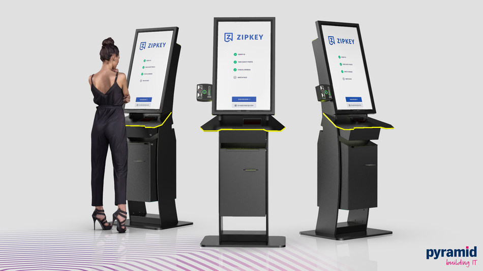 Image shows Pyramid Computer's new polytouch® 32 curve - access control kiosk which automatically measures human body temperature as part of authorizing personnel and visitor access to buildings and public areas. By streamlining the flow of people through the kiosk, quick but very accurate contactless checks can determine if an individual is running a fever and therefore potentially has the coronavirus (SARS-CoV-2) or possibly another virus or bacterial disease such as influenza. The Pyramid polytouch® 32 curve kiosk helps businesses, institutions, public transportation and venue operators rapidly detect and reduce the potential spread of infection among employees, guests and visitors.