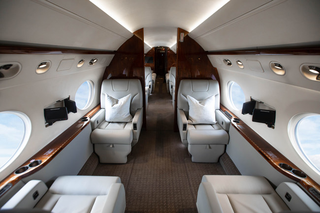 Talon Air operates 40 aircraft, including this Gulfstream G550, offering all of the passenger amenities discerning travelers require for their business and leisure travel. Talon now provides enhanced cleaning and crew procedures to ensure the safety and well being of our passengers.