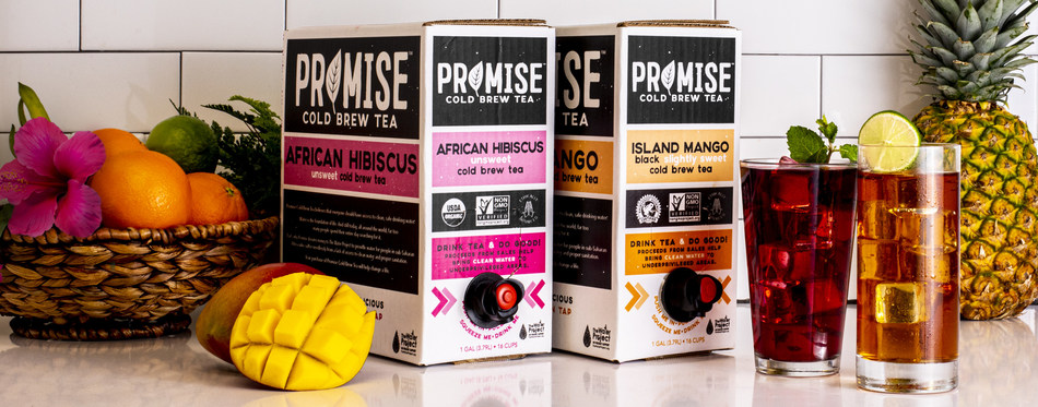 Promise Cold Brew Tea™ is available in two flavors, Unsweet African Hibiscus, a tart and fruity tea with notes of citrus and pomegranate, and Slightly Sweet Island Mango, a rich black tea paired with notes of sweet mango.