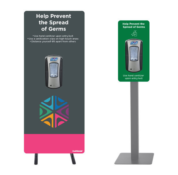 KwikBoost custom sanitization stations can be designed with your university logo or other images and text. They can also be used to communicate important message to students and staff.