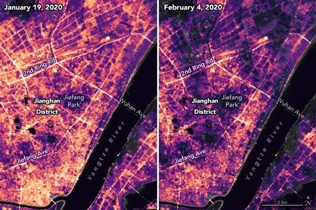 Lighting changes between Jan. 19 and Feb. 4, 2020 in Jianghan District, a commercial area of Wuhan, China, as retrieved by the Visible Infrared Imaging Radiometer Suite (VIIRS) using NASA's Black Marble product suite: https://blackmarble.gsfc.nasa.gov/. Image Credit: NASA Earth Science Observatory.