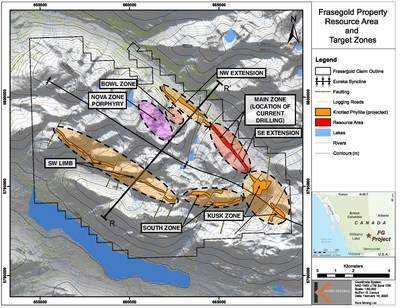 Figure 1 – Property Map with Exploration Zones and Projected Trend (CNW Group/Kore Mining)