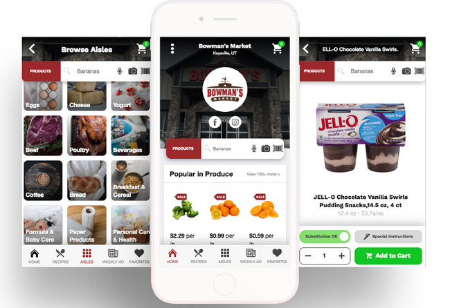 Example of a store-branded mobile app built and powered by ShopHero for independent grocers.