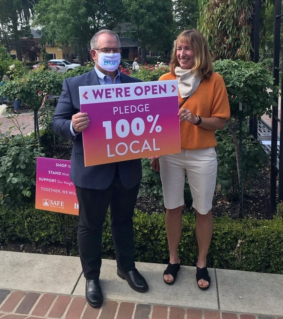 SAFE Credit Union President and CEO Dave Roughton and Inside Sacramento Publisher Cecily Hastings discuss the 100% Local Pledge Tuesday, May 19, 2020, in Sacramento.