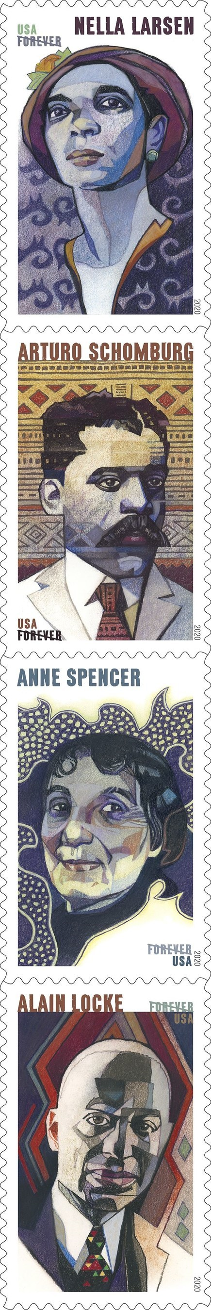 The new Voices of the Harlem Renaissance stamps honor four transformative writers of the 1920s. (PRNewsfoto/U.S. Postal Service)