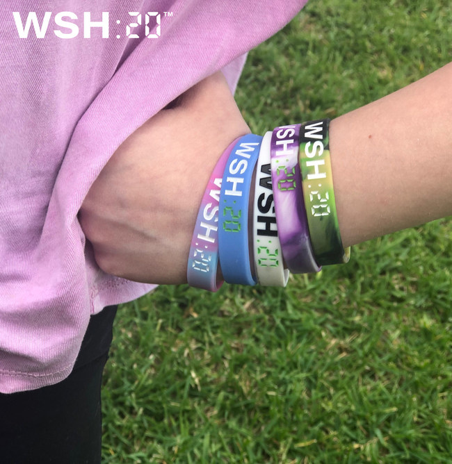 WSH:20 wristbands are available in 20 great looking color combinations. Custom orders are also available. Ideal for schools and businesses to promote proper hand hygiene.