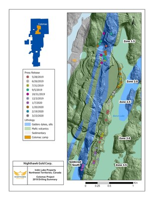 Figure 1. Colomac Gold Project - 2019 Drillhole Locations (CNW Group/Nighthawk Gold Corp.)