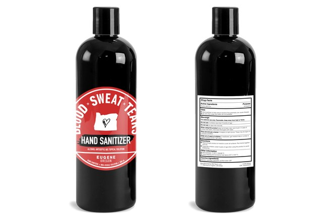 4-oz bottles are being personally delivered by Blood x Sweat x Tears' dedicated salespersons, who also routinely bring lunch to entire teams of grocery workers. Otherwise, the hand sanitizer is available at the distillery in Eugene, OR, and is initially being distributed in the distillery's home state of Oregon.