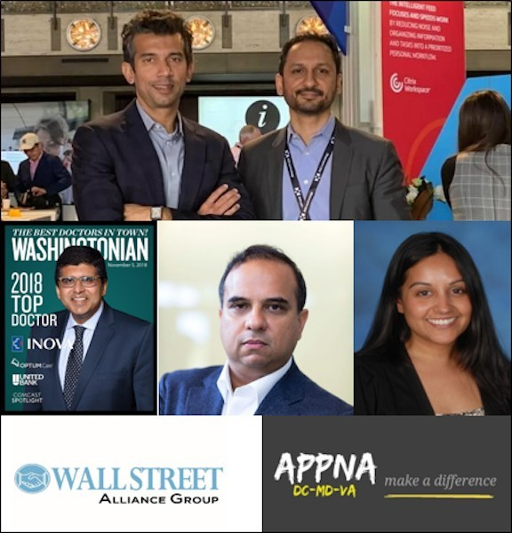 From Top left: Aadil Zaman and Syed Nishat, Senior Partners at Wall Street Alliance Group; Dr. Habib Chotani, Chair Social Welfare; Dr. Tayyib Rana, Past President and Dr. Samia Piracha, President of APPNA DMV
