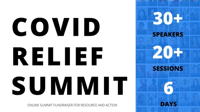 On Demand online summit fundraiser for emergency relief for people of color hit hardest by the pandemic