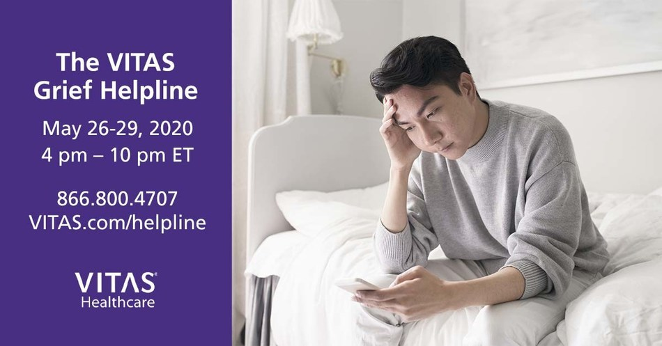 VITAS Healthcare is launching a national helpline to support anyone in the country suffering from grief after the death of a loved one during the COVID-19 pandemic.  The VITAS Grief Helpline is available at 866.800.4707 between 4 pm - 10 pm EDT from Tuesday, May 26 to Friday, May 29. Visit VITAS.com/helpline for more resources.