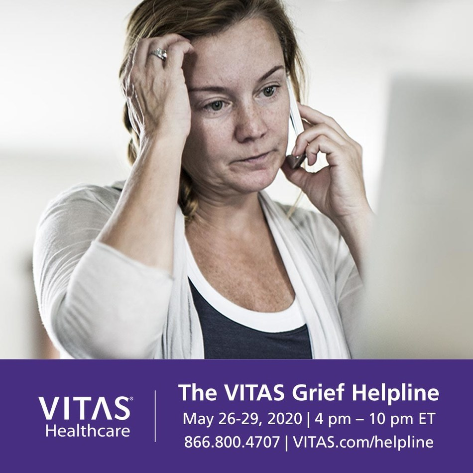 The VITAS Grief Helpline is available to members of the healthcare community who need emotional support related to grief, death and loss as a result of their experiences on the COVID-19 front lines. All healthcare workers can take advantage of an online support event led by experienced VITAS counselors.  Call the VITAS Grief Helpline at 866.800.4707 between 4 pm - 10 pm EDT from Tuesday, May 26 to Friday, May 29, or visit VITAS.com/helpline.