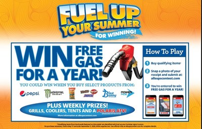 Fuel Up Your Summer for Winning at Allsup's to win FREE Gas for a Year and thousands of Instant Prizes! Qualifying purchases earn entries to win at AllsupsContest.com through September 5.