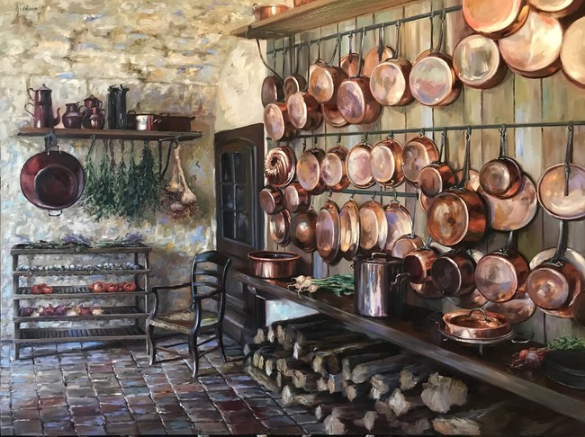 "Lindsay Goodwin, ""Herbs and Lavender at Chateau Bridoire, France, 30 x 40 inches, oil on canvas at Jones and Terwilliger Galleries"