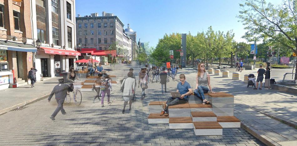 Rue de la Commune Est, entre les rues Saint-Gabriel et Bonsecours, vue vers l'est (Groupe CNW/Ville de Montréal - Arrondissement de Ville-Marie)