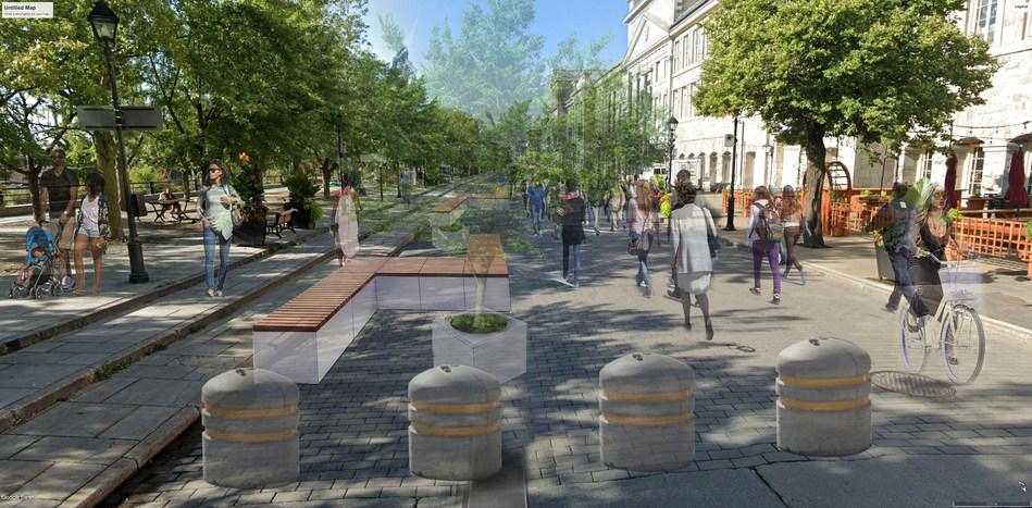 Rue de la Commune Est, entre les rues Saint-Gabriel et Bonsecours, vue vers l'ouest (Groupe CNW/Ville de Montréal - Arrondissement de Ville-Marie)