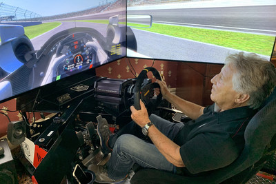 Racing legend Mario Andretti at the wheel of his simulator. He'll compete in the The Race All-Star Series powered by ROKIiT Phones Legends Trophy on the virtual the Indianapolis Motor Speedway this Saturday.