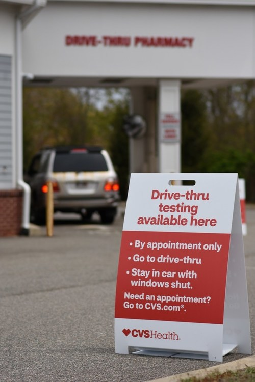 A COVID-19 testing site at a nearby CVS Pharmacy drive-thru, part of the company's plans to operate up to 1,000 test sites around the country by the end of May. (PRNewsfoto/CVS Health)