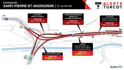 Entraves - Échangeur Saint-Pierre et Angrignon (Groupe CNW/Ministère des Transports)