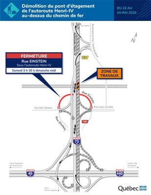 Démolition du pont d'étagement de l'autoroute Henri IV au-dessus du chemin de fer (Groupe CNW/Ministère des Transports)