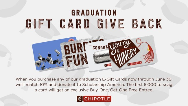 Through its new Graduation Gift Card Give Back program, Chipotle will match 10% of graduation-themed egift card purchases and donate to Scholarship America.