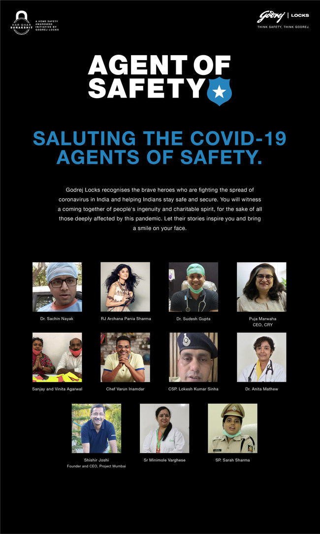 Godrej Locks' #AgentofSafety campaign honours real-life stories of doctors, police officers, NGO's, media personnel, and citizens who are contributing in their unique ways