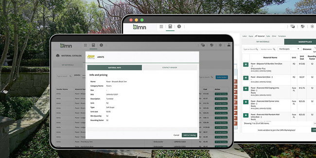 Accurate, current pricing in the LMN Estimating Marketplace saves contractors time, ensuring they recover costs and stand to profit on every job they bid. Contractors can search thousands of products and materials, obtain up-to-date pricing, and build accurate estimates for customers inside the platform. With the Estimating Marketplace, both parties can save time and money.