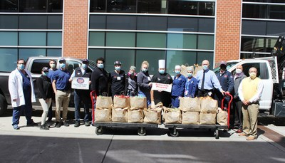 Healthcare workers from& New Brunswick-based& Robert Wood Johnson University Hospital receive 1,500 meals from& Jersey Mike's Subs at Rutgers University, courtesy of& Whippany-based Suburban Propane.