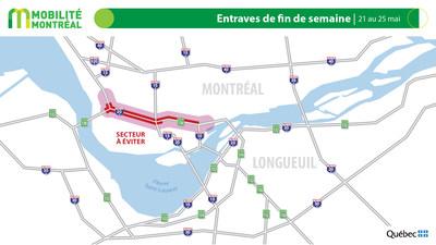 Carte générale des entraves, du 21 au 25 mai (Groupe CNW/Ministère des Transports)