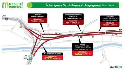 A20 entre les échangeurs Saint-Pierre et Turcot, du 21 au 25 mai (Groupe CNW/Ministère des Transports)
