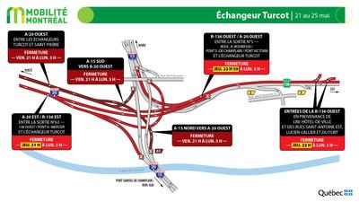 A720 ouest et échangeur Turcot, du 21 au 25 mai (Groupe CNW/Ministère des Transports)