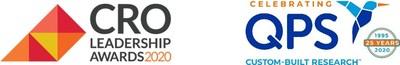 Logo de los Premios al Liderazgo CRO y logo de QPS.