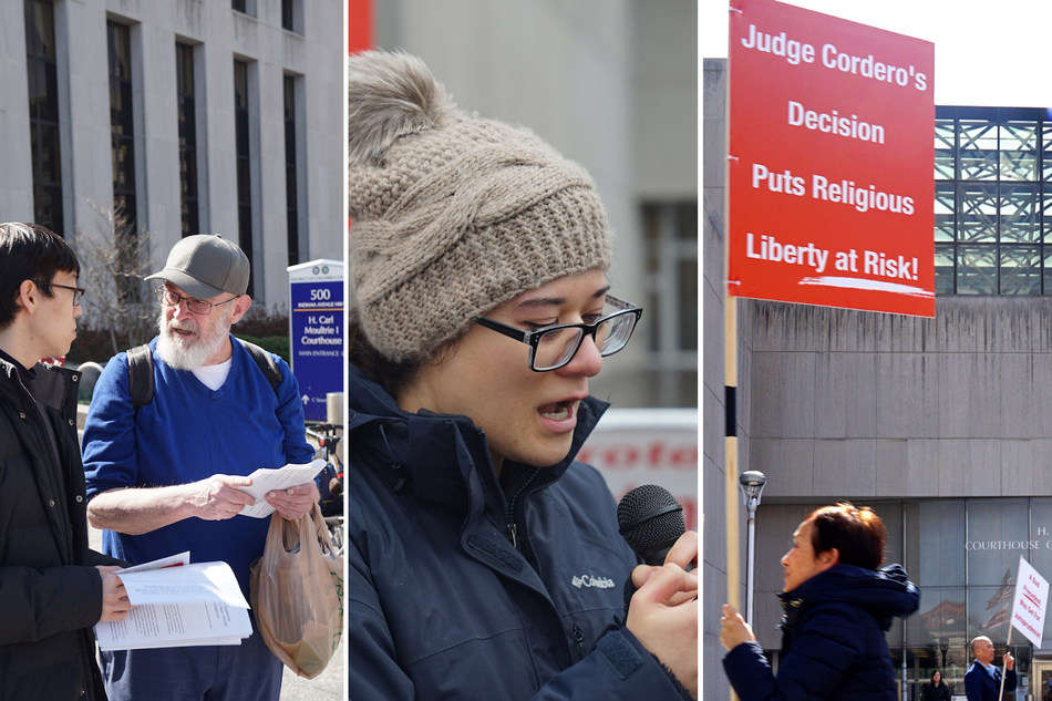 Right To Believe activists gather in front of the Washington DC Superior Court to protest Judge Laura Cordero's unconstitutional rulings