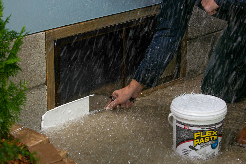 Flex Paste™ can be used to seal up windows and help prevent flood damage. Make sure to keep Flex Paste on hand to protect vulnerable areas of your home during a storm.