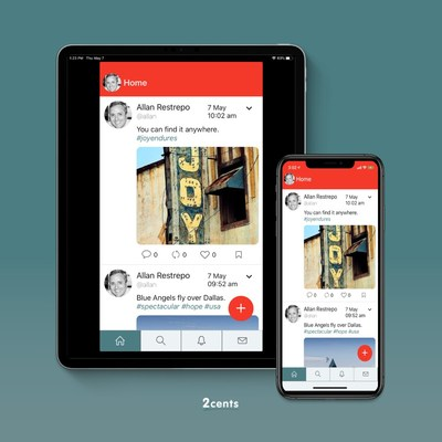 2cents is available not only online, but through an app compatible with Apple and Android.