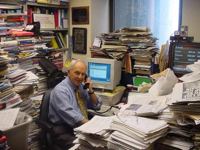"Myron ""Mike"" Kandel in his CNN office. (Photo: Dean Rotbart - 2001)"