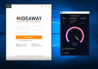 HideAway speed test vs Express VPN