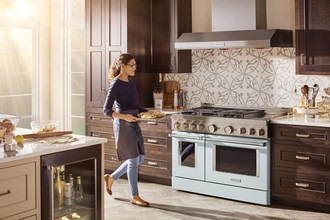 The new Commercial-Style Range Collection from KitchenAid features nine expressive colors including Avocado Cream, Imperial Black, Ink Blue, Milkshake, Misty Blue (shown above), Passion Red, Scorched Orange, Yellow Pepper and Stainless Steel to complement the kitchen's aesthetic.