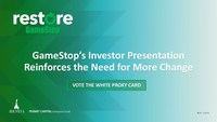 Investor Group Issues New Investor Presentation to Correct GameStop Corp.'s Misleading Claims
